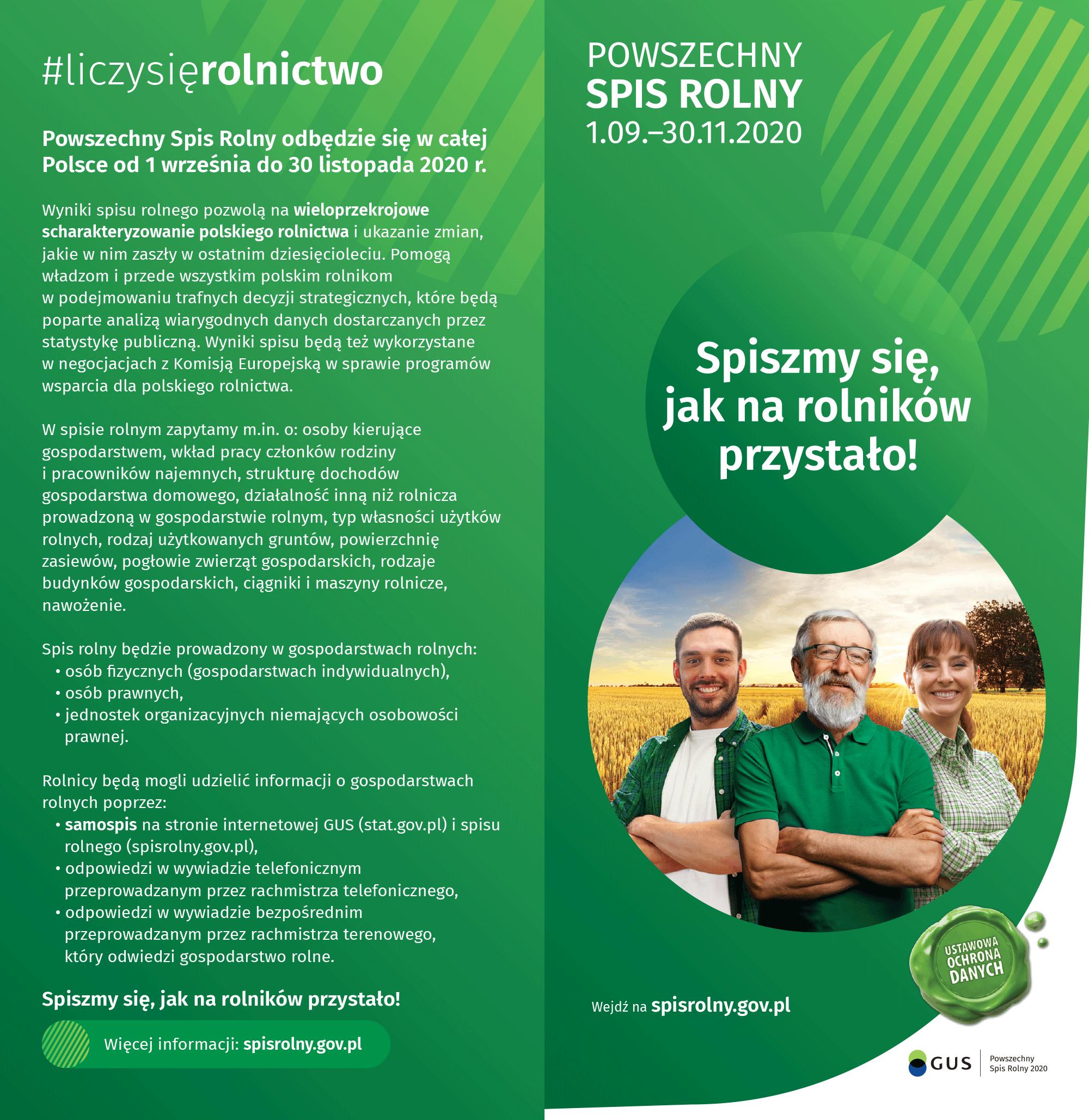 Ulotka Powszechny Spis Rolny 2020r.