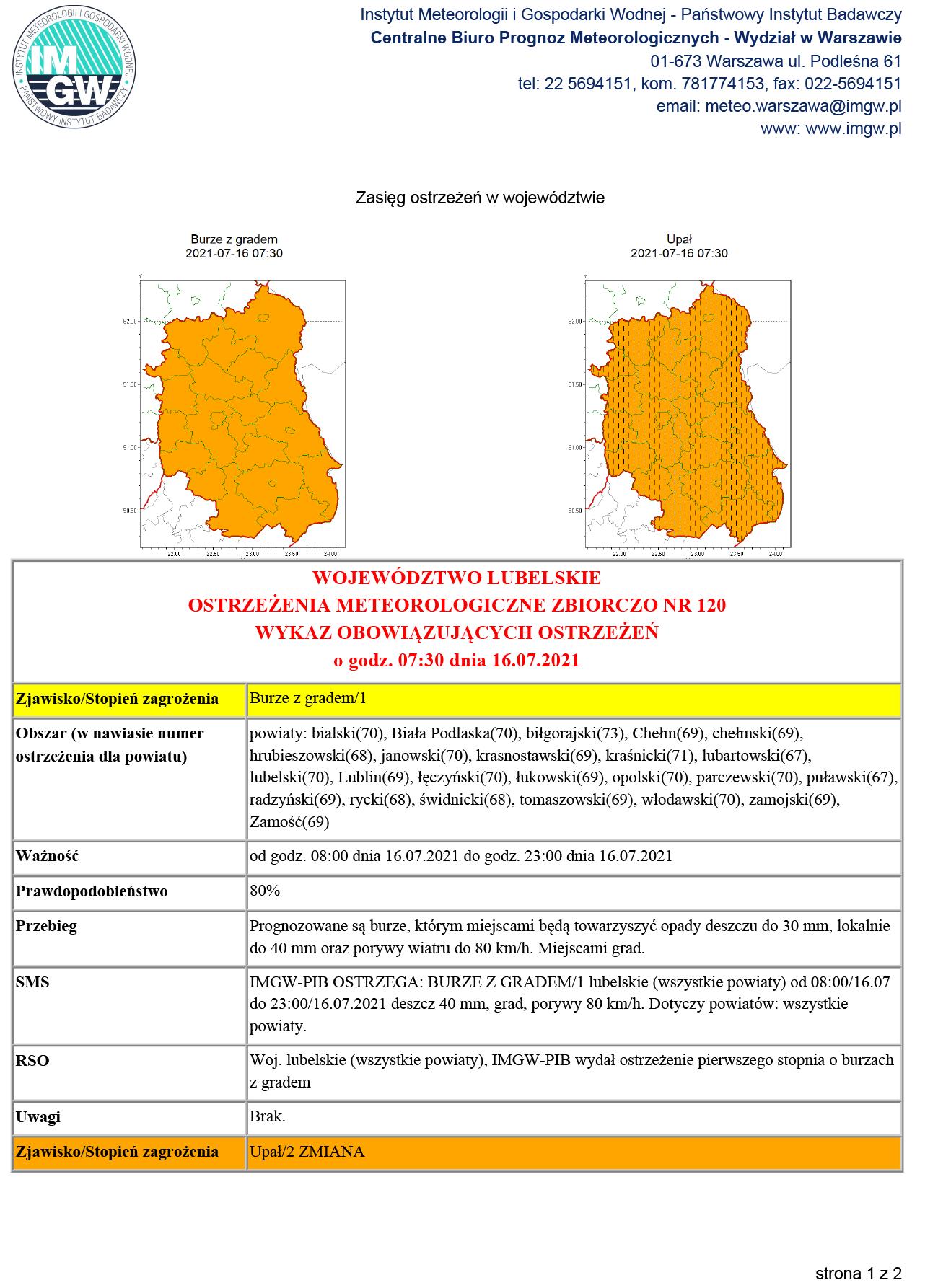 IMGW: Ostrzeżenie przed burzami z gradem oraz przed upałami