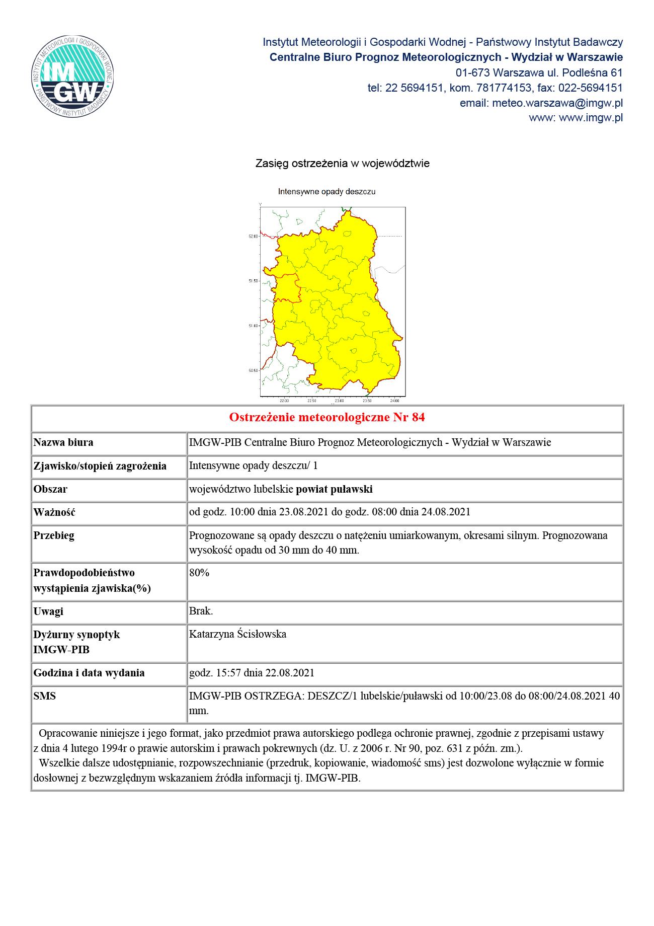 IMGW: Ostrzeżenie przed intensywnymi opadami deszczu
