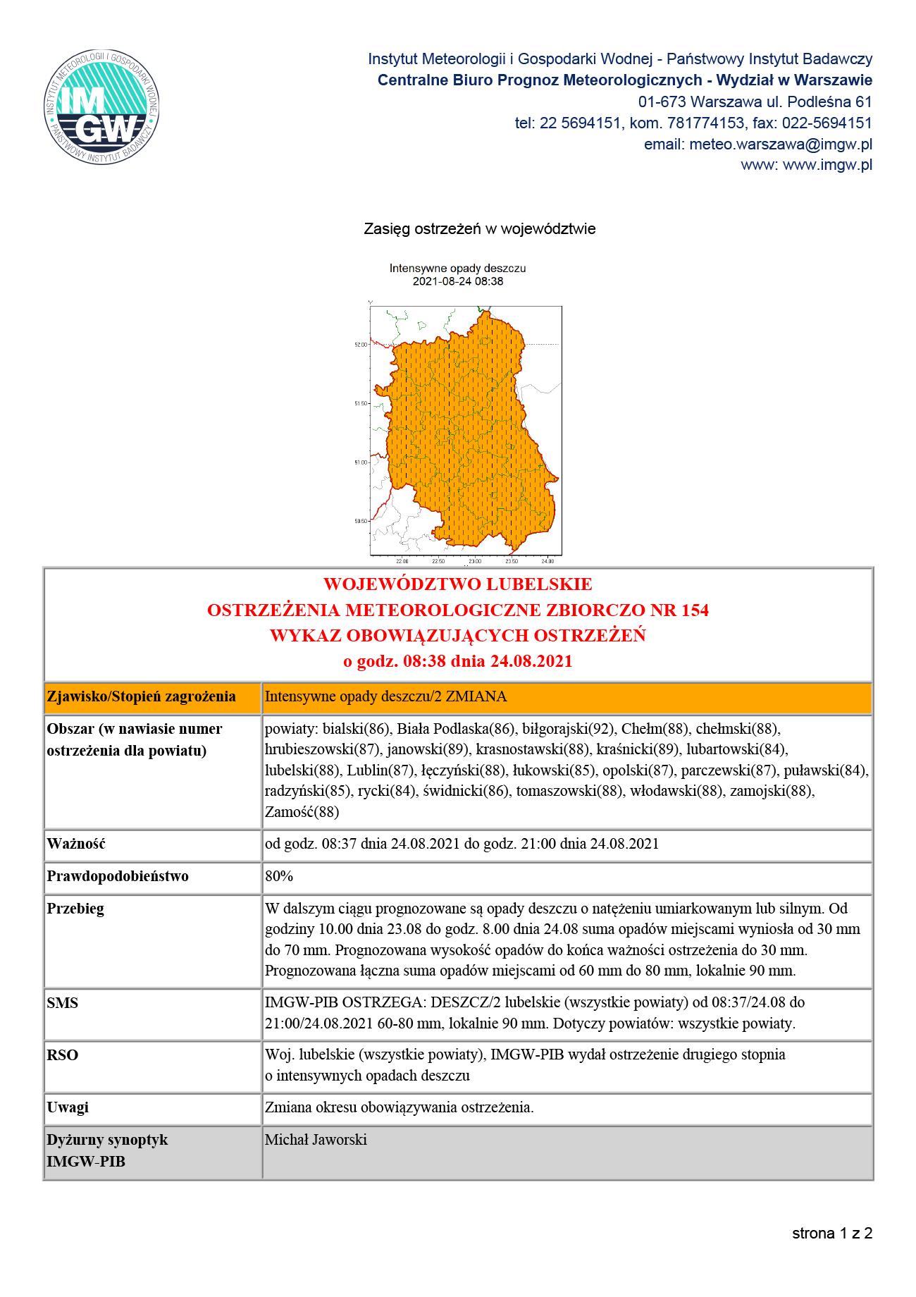 Ostrzeżenie IMGW przed intensywnymi opadami deszczu