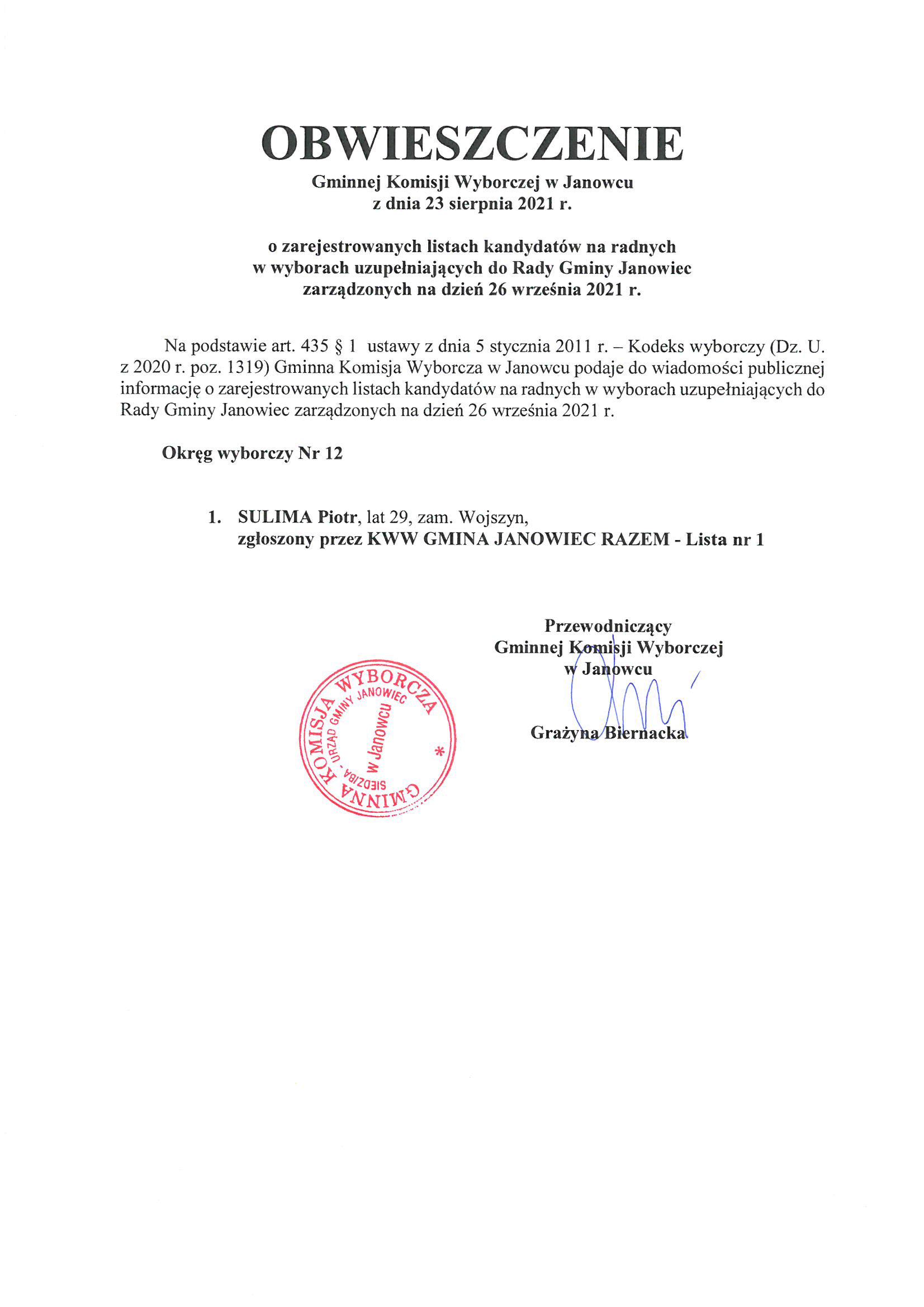Obwieszczenie GKW w Janowcu o zarejestrowanych listach kandydatów na radnych w wyborach uzupełniających do Rady Gminy Janowiec