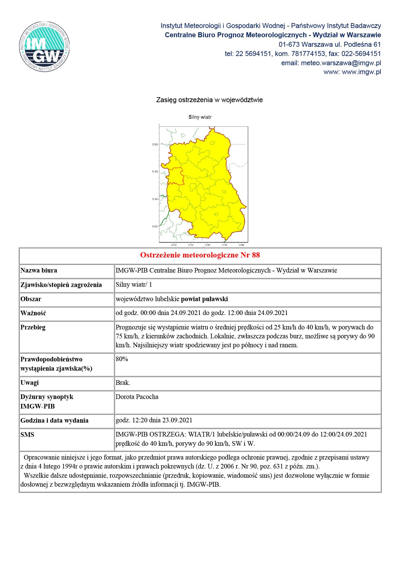 IMGW: Ostrzeżenie przed silnym wiatrem