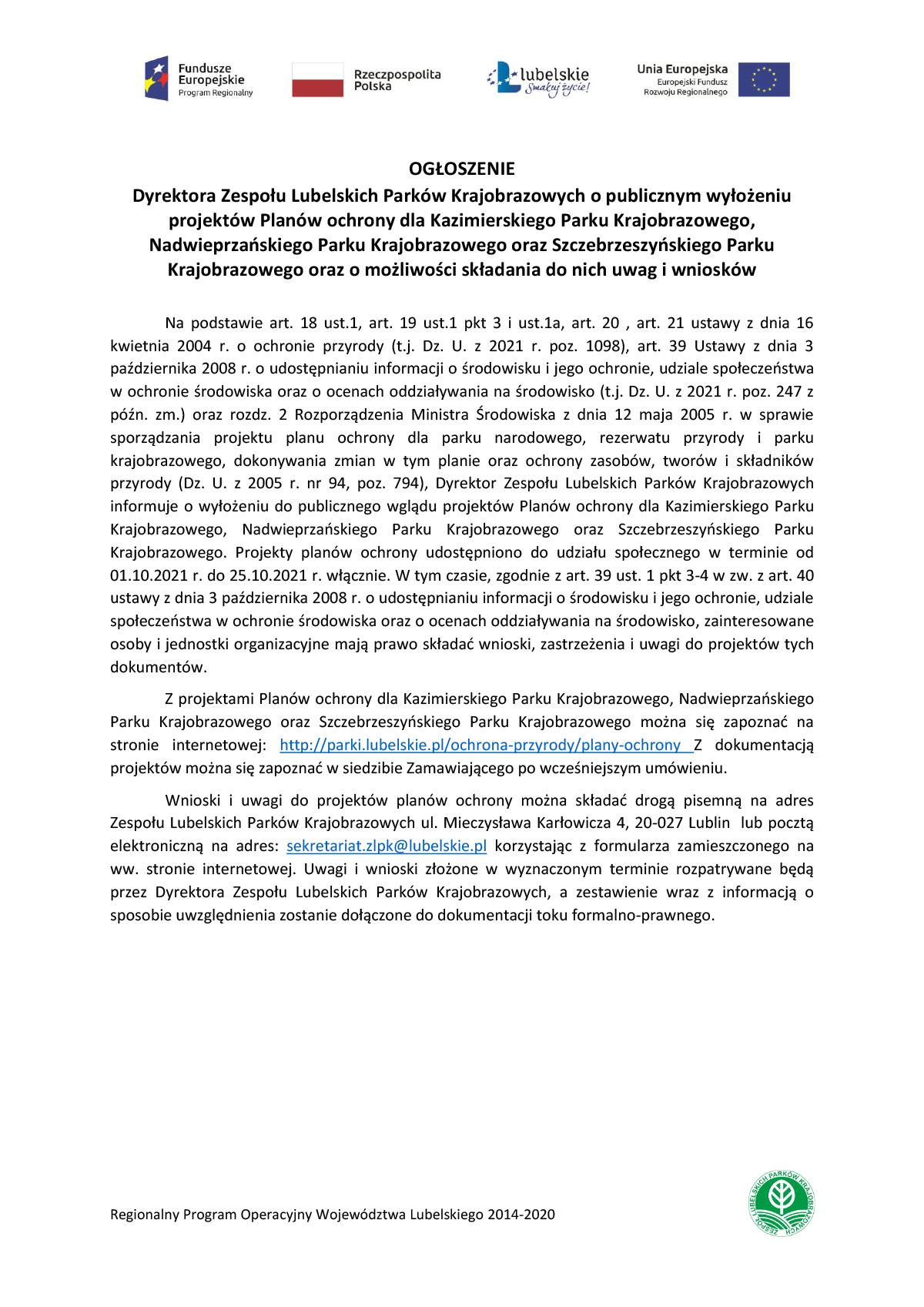 Ogłoszenie Dyrektora Lubelskich Parków Krajobrazowych